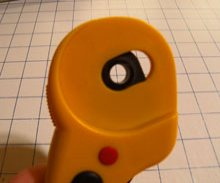 Olfa rotary cutter - right side of handle