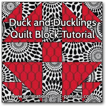 Duck and Ducklings quilt block instructions