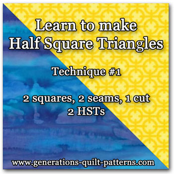 Quick pieced technique for making half square triangles