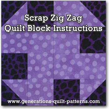 Scrap Zig Zag quilt block instructions