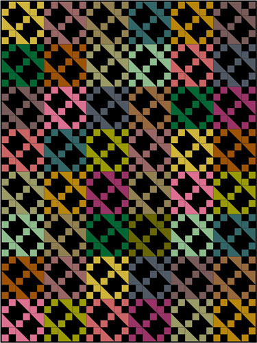 Jacob's Ladder quilt pattern-multi-fabric