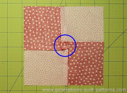 The back of the 3D Bow Tie quilt block