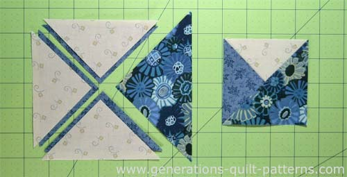 Quilt Patterns Quarter Square Triangles : 3-Patch Quarter Square Triangle Block: Step-by-Step Tutorial in 4 Sizes