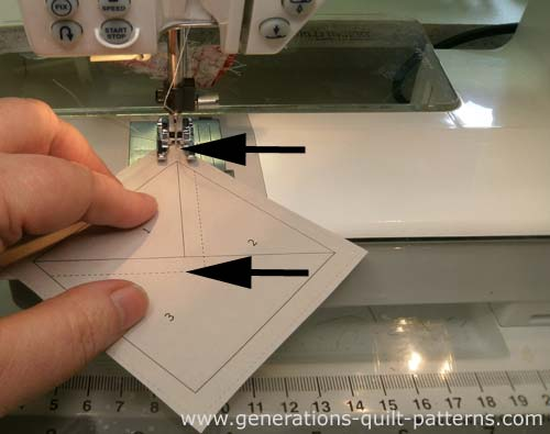 Stitch on the line, starting before and ending after the sewing line