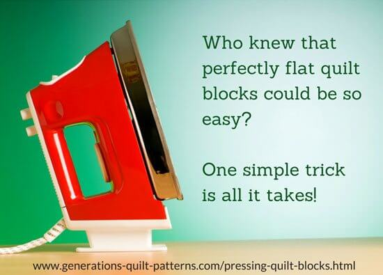 Click the red iron to learn the secret for the flattest quilt blocks