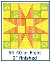 54-40 or Fight quilt block