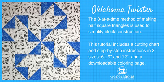 The 8-at-a-time method to make half square triangles simplifies block construction. Tutorial includes cutting chart,  step-by-step instructions in 3 sizes: 6