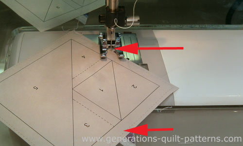 Stitch starting before and ending after the solid line