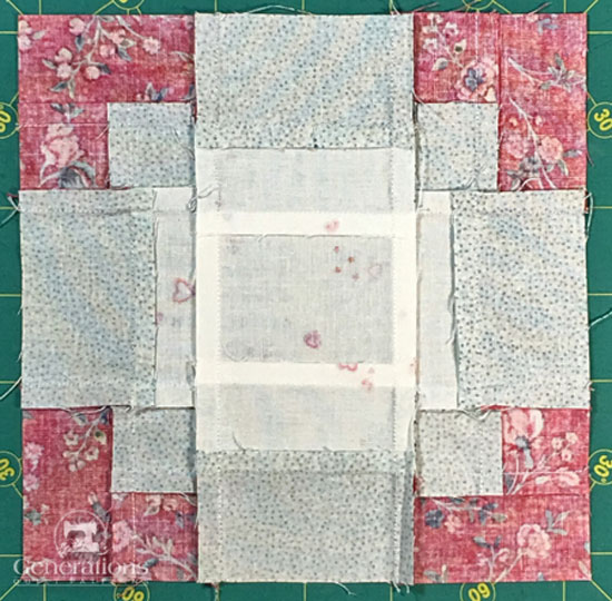 Antique Tile quilt block from the back
