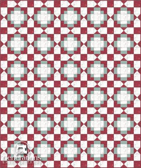Antique Tile quilt, quarter square triangle sashings, straight set