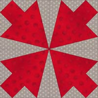 Arrowhead quilt block design, Variation 6