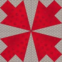 Arrowhead quilt block design, Variation 6