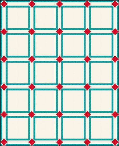 Quilt using Art Square blocks for cornerstones