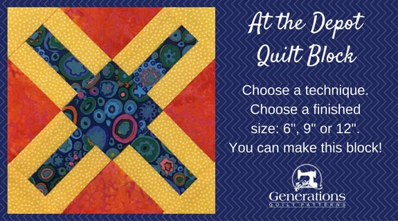 """At the Depot"" Free Paper Pieced Quilt Block Pattern designed by Julie Baird from Generations Quilt Patterns"