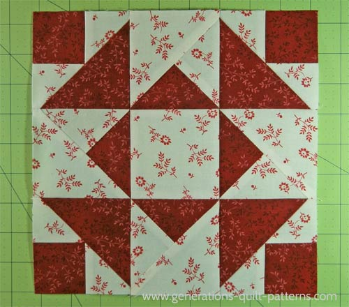 The finished Aunt Dinah quilt block!