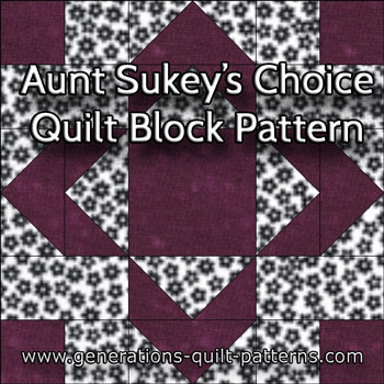 """Aunt Sukey's Choice Quilt Block"" Free Paper Pieced Quilt Block Pattern designed and from Generations Quilt Patterns"