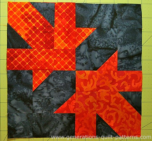 A finished Maple Leaf Design quilt block