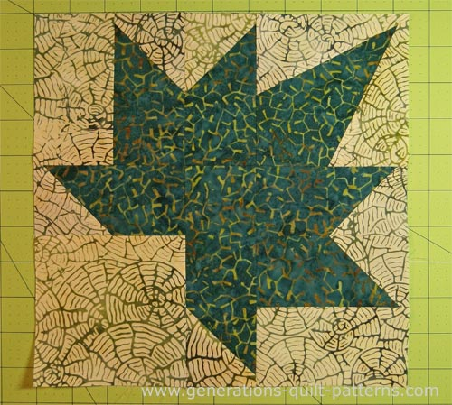 The piecing for our Autumn Leaf quilt block is done.