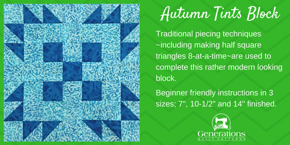 Our Autumn Tints quilt block uses traditional piecing techniques—including making half square triangles 8-at-a-time—to complete this rather modern-looking patchwork design. Instructions in 3 sizes.