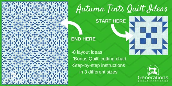 The Autumn Tints quilt block is a 'happy-accident' block--forming a unique design when it edges meet.  Step-by-step instructions in 3 sizes. Layout ideas and bonus quilt cutting chart provided.