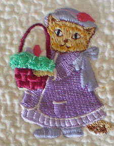 Machine embroidered quilt block