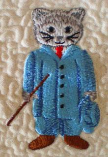Machine embroidered quilt block