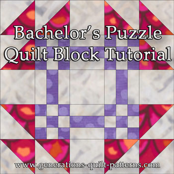 """Bachelor's Puzzle Quilt Block"" Free Paper Pieced Quilt Block Pattern designed and from Generations Quilt Patterns"