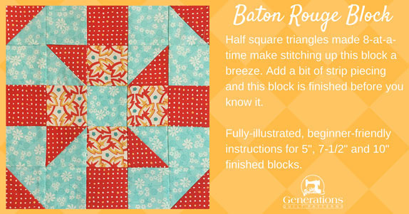 Baton Rouge quilt block tutorial in three sizes