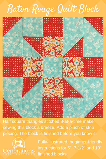 Pin this Baton Rouge quilt block tutorial for later