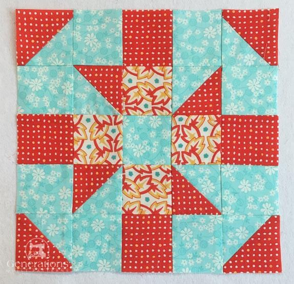 The finished Baton Rouge quilt block
