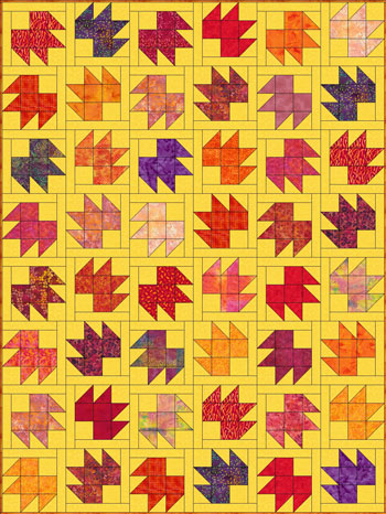 Bear Tracks quilt with sashing on only two sides of each block