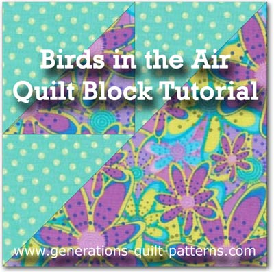 """Birds in the Air Paper Pieced Quilt Block"" Free Pattern designed and from Generations Quilt Patterns"