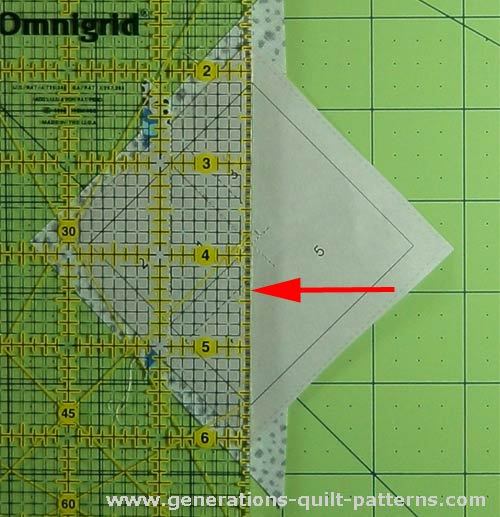 Align ruler with stitching line