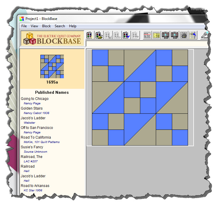 Blockbase listing for Jacob's Ladder quilt block