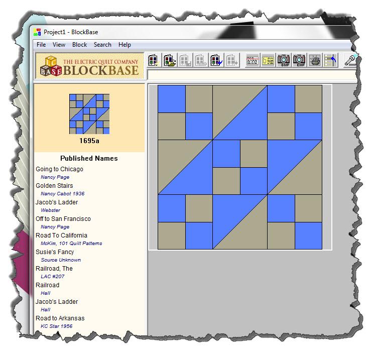 Blockbase listing for Jacob's Ladder quilt block
