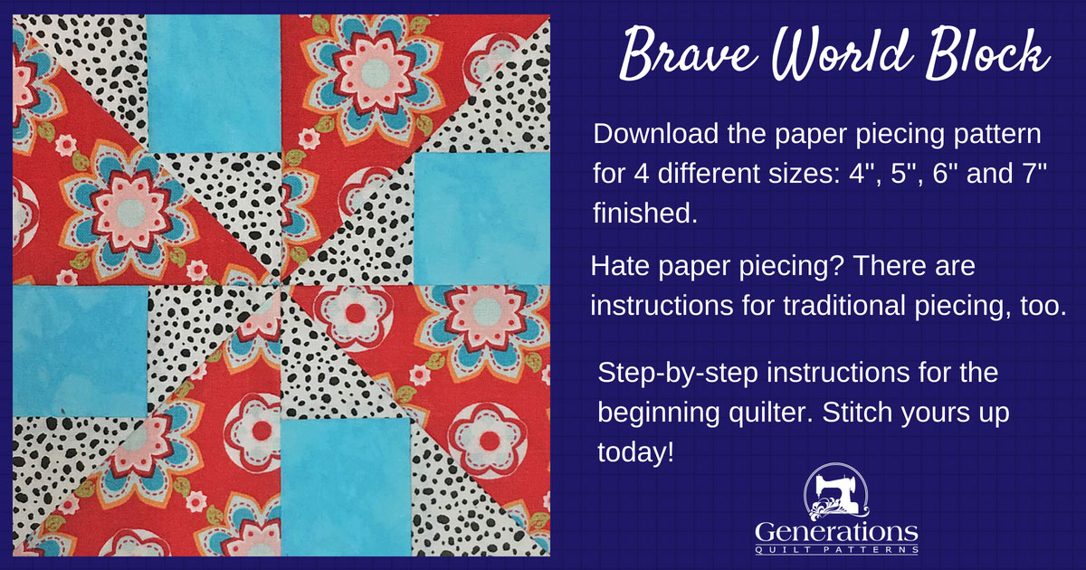 Brave World quilt block tutorial