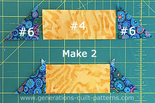 Sew a #6 to each short side of a #4 for a total of two