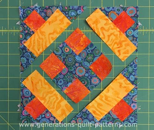 Arrange the sewn units into diagonal rows