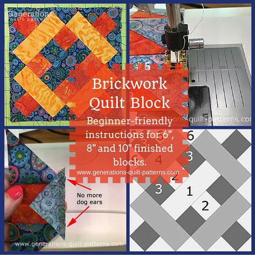 The Brickwork quilt block tutorial begins here...