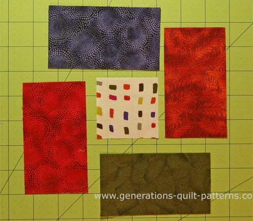All the patches needed for a Bright Hopes quilt block