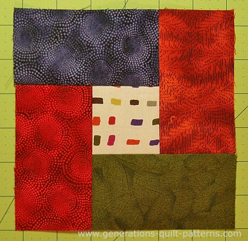 A finished Bright Hopes quilt block
