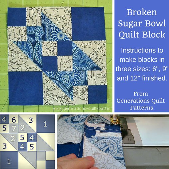Broken Sugar Bowl quilt block tutorial