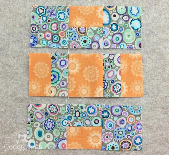 Segments in order to stitch a quarter block