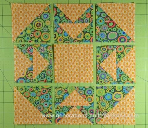 Arrange the patches into a Capital T design