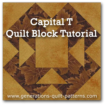 """Capital T"" Free Modern Quilt Block Pattern designed by Julie Baird from Generations Quilt Patterns"