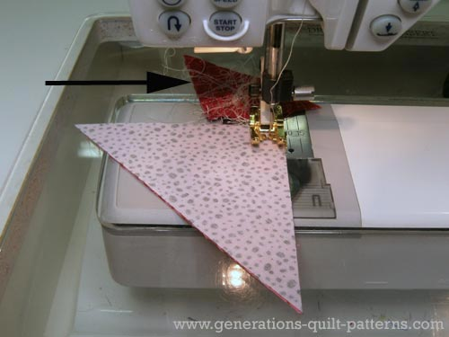 Stitch together the first two patches for your quarter square triangle units