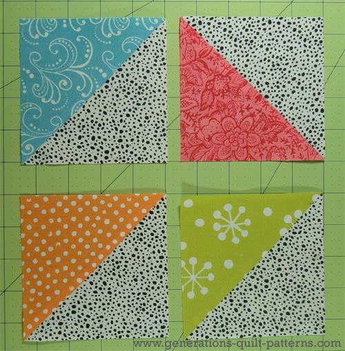 Quilt Patterns Using Squares And Triangles : Card Trick Quilt Block from our Free Quilt Block Pattern Library