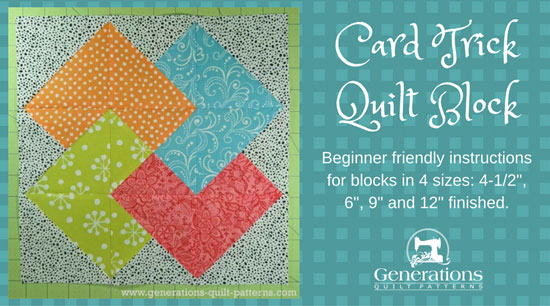 Card Trick quilt block tutorial starts here