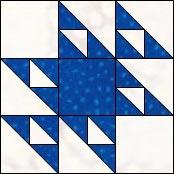 Hourglass quilt block, Cat's Cradle variation 4
