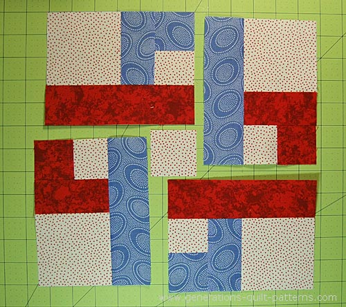 Chain link quilt block pattern 7 10 12 and 14 arrange the pieced units and center square in the order theyll be sewn together maxwellsz